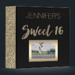 """Black Gold Sweet Sixteen Binder<br><div class=""""desc"""">This binder is designed with a black background and faux gold glitter patterns. Personalize with a name or text of your choice and customize with your own photo! Makes a great binder for photos or memories of your Sweet Sixteen.</div>"""