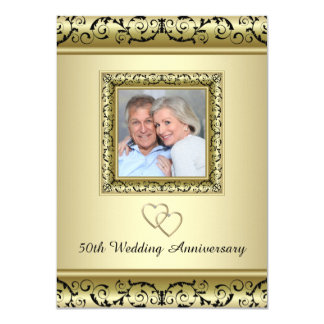 Black Gold Swirl 50th Wedding Anniversary Party Card
