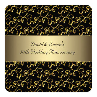 black gold swirl 50th wedding anniversary party card