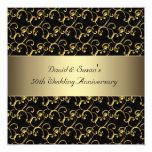 Black Gold Swirl 50th Wedding Anniversary Party Custom Invitations