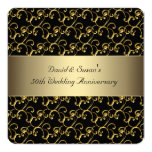 Black Gold Swirl 50th Wedding Anniversary Party 5.25x5.25 Square Paper Invitation Card