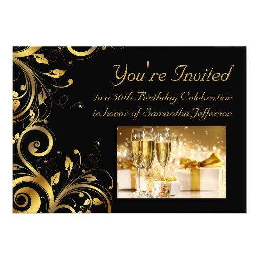 Black & Gold Swirl 5x7 Custom 50th Birthday Party Announcement