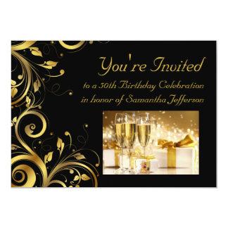 "Black & Gold Swirl 5x7 Custom 50th Birthday Party 5"" X 7"" Invitation Card"