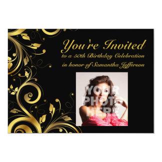Black+Gold Swirl, Custom Photo 50th Birthday Party 5x7 Paper Invitation Card