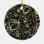 Black & Gold Swirls Christmas Tree Ornaments