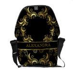Black & Gold Swirls Design- Monogram Courier Bags