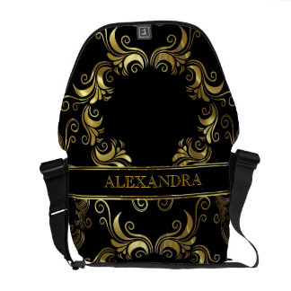 Black & Gold Swirls Design- Monogram Messenger Bag