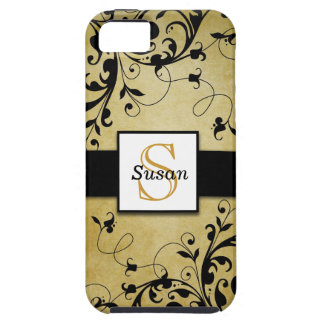 Black Gold Swirls Monogram iPhone 5 Cases