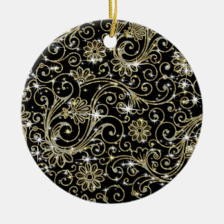 Black & Gold Swirls Christmas Tree Ornaments