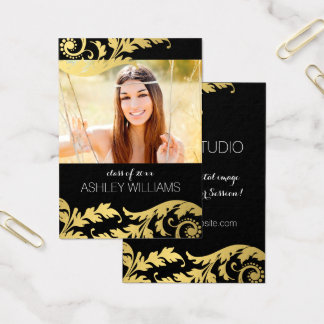 Black Gold Swirls Senior Rep Marketing Business Card