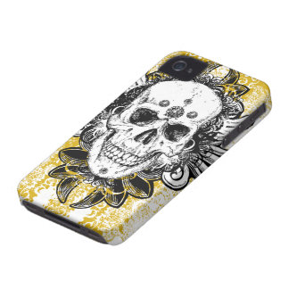 Black gold swirls skull awesome iphone 4 casemate iPhone 4 case
