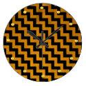 Black Gold-Swirls ZizZag Design, Gold Studs Effect Large Clock (<em>$33.45</em>)