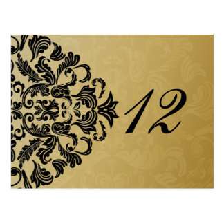 black gold table numbers postcards