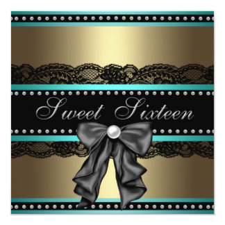 """Black Gold Teal Blue Sweet 16 Birthday Party 5.25"""" Square Invitation Card"""