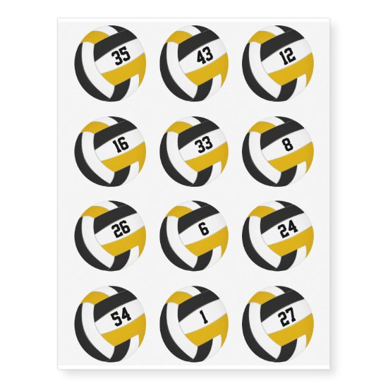 black gold team color volleyballs w jersey numbers temporary tattoos