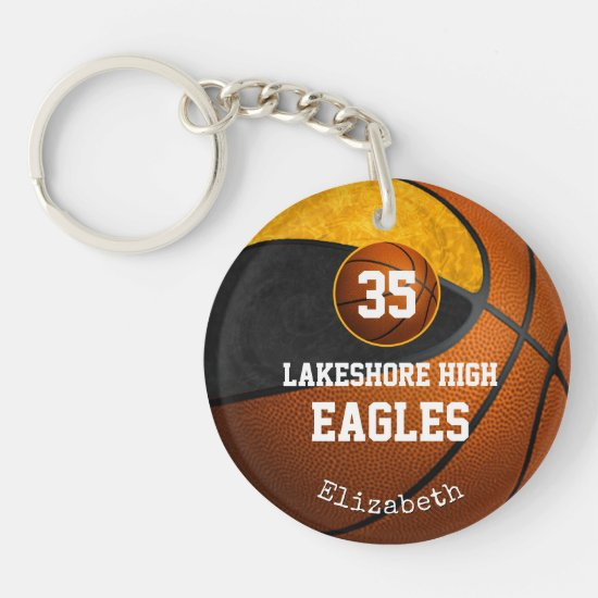Black gold team colors basketball play like a girl keychain