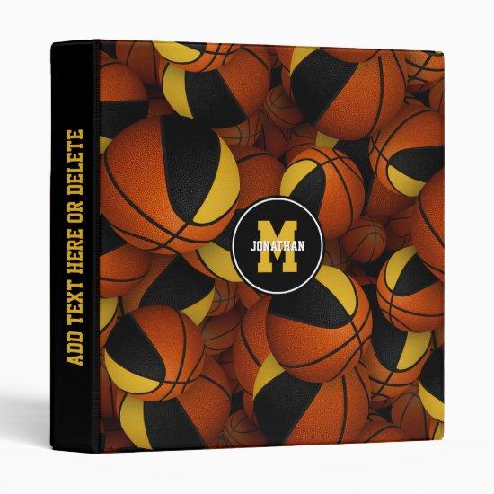 black gold team colors basketballs boys girls 3 ring binder