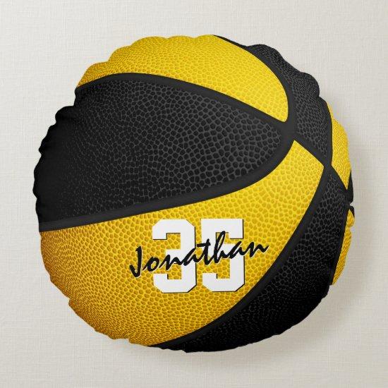 black gold team colors boys girls basketball room round pillow