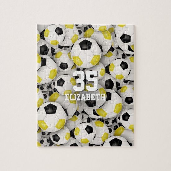 black gold team colors girls boys soccer jigsaw puzzle