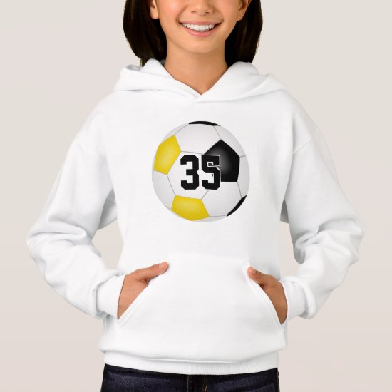 black gold team colors jersey number soccer hoodie