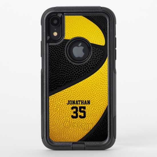 black gold team colors personalized basketball OtterBox commuter iPhone XR case