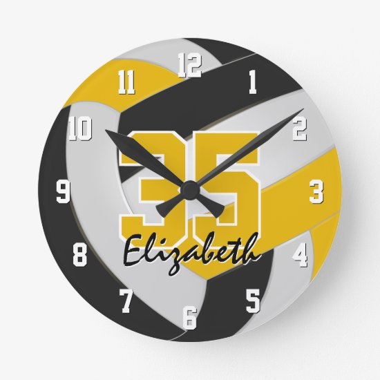 black gold team colors personalized volleyball round clock