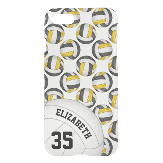 black gold team colors personalized volleyball iPhone 8/7 case