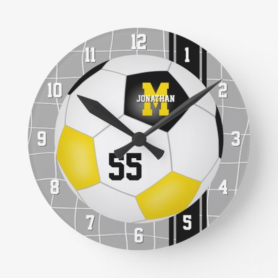 black gold team colors varsity stripes soccer round clock