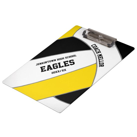 black gold team colors volleyball coach clipboard