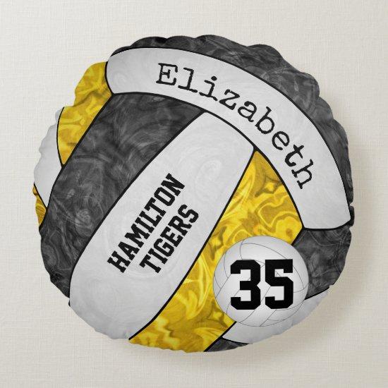 black gold team spirit colors girls' volleyball round pillow
