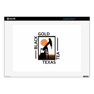 "Black Gold Texas Tea Decal For 15"" Laptop"