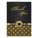 """Black gold """"thank you"""" wedding damask greeting card"""