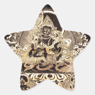 Black & Gold Tibetan Buddhist Art Star Sticker