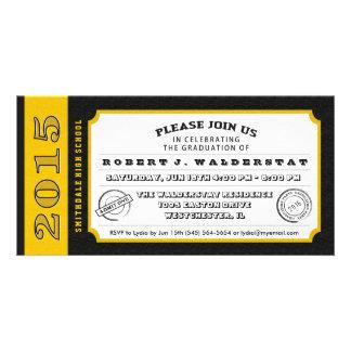 Black & Gold Ticket Graduation PhotoCard Invites Photo Card