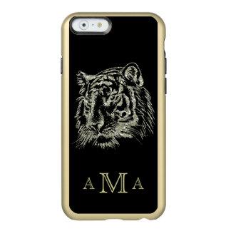 Black Gold Tiger Monogram Incipio Feather® Shine iPhone 6 Case