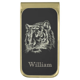 Black Gold Tiger Personalized Gold Finish Money Clip