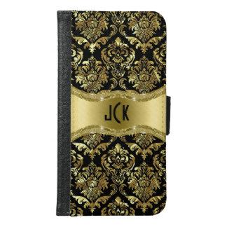 Black & Gold Tones Floral Damasks Samsung Galaxy S6 Wallet Case