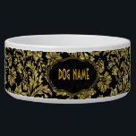 "Black &amp; Gold Tones Vintage Floral Damasks Bowl<br><div class=""desc"">Elegant black and metallic gold tones elegant vintage ornate floral damasks pattern. Custom name.</div>"