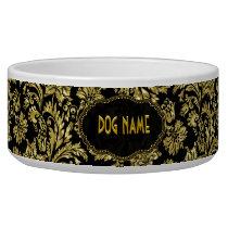 Black & Gold Tones Vintage Floral Damasks Bowl