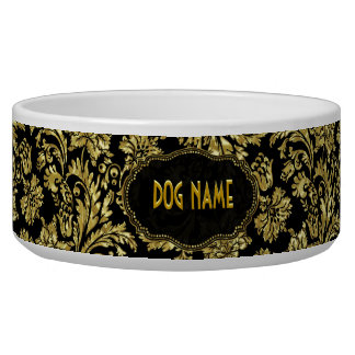 Black & Gold Tones Vintage Floral Damasks Dog Food Bowl