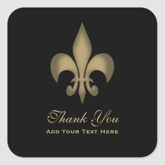 Black Gold Transparent Fleur de Lis Thank You Square Sticker