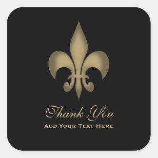 Black Gold Transparent Fleur de Lis Thank You Square Sticker