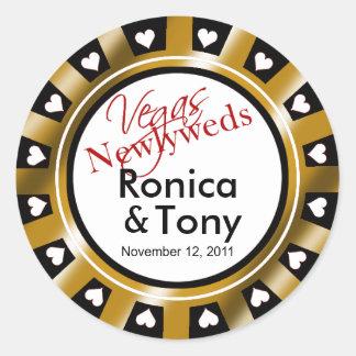 Black & Gold Vegas Newlyweds Casino Chip Sticker