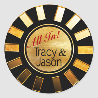 Black & Gold Vegas Newlyweds Casino Chip Round Stickers