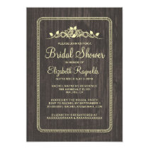 Black Gold Vintage Barn Wood Bridal Shower Invites