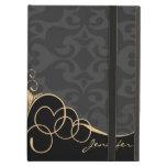 Black & Gold Vintage Damasks iPad Folio Case