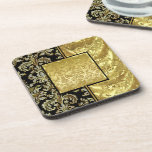 Black & Gold Vintage Floral Damask Pattern Drink Coasters