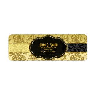 Black & Gold Vintage Floral Damasks Custom Return Address Label
