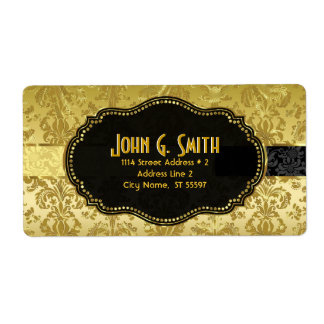 Black & Gold Vintage Floral Damasks Label