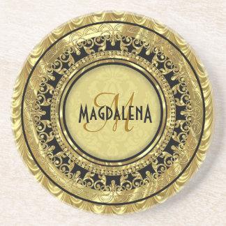 Black & Gold Vintage Floral Damasks-Monogram Drink Coaster